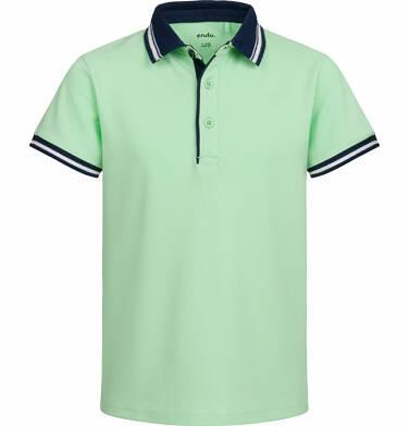 Endo - T-shirt polo z krótkim rękawem dla chłopca, z piłką, jasnozielony, 9-13 lat C03G521_1