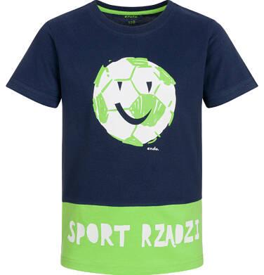 Endo - T-shirt z krótkim rękawem dla chłopca, sport rządzi, granatowo-zielony, 9-13 lat C03G556_1