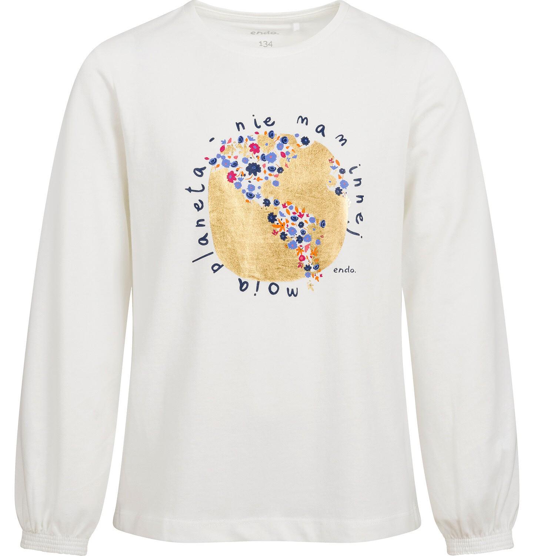 Endo - Bluzka z długim rękawem dla dziewczynki, porcelanowa, 9-13 lat D04G177_1