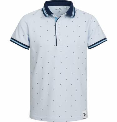 Endo - T-shirt polo z krótkim rękawem dla chłopca, w drobny wzór, jasnoniebieski, 2-8 lat C03G022_1