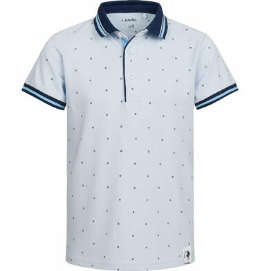 Endo - T-shirt polo z krótkim rękawem dla chłopca, w drobny wzór, jasnoniebieski, 9-13 lat C03G522_1