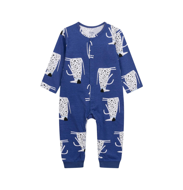 Endo - Pajac dla dziecka do 2 lat, deseń z psami w kropki, niebieski N03N010_1