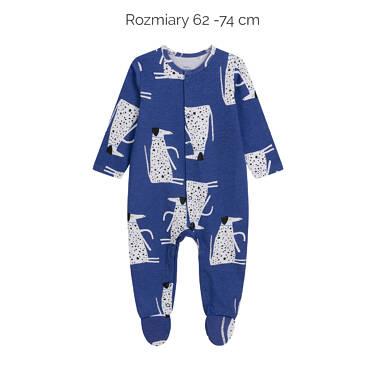 Endo - Pajac dla dziecka do 2 lat, deseń z psami w kropki, niebieski N03N010_1,2