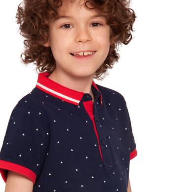 Endo - T-shirt polo z krótkim rękawem dla chłopca, w drobny wzór, ciemnogranatowy, 2-8 lat C03G023_1