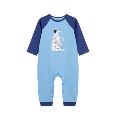 Endo - Pajac dla dziecka do 2 lat, z psem w kropki, niebieski N03N013_1