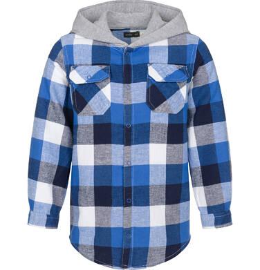 Koszula z długim rękawem i kapturem dla chłopca, w kratę, 3-8 lat C92F006_1