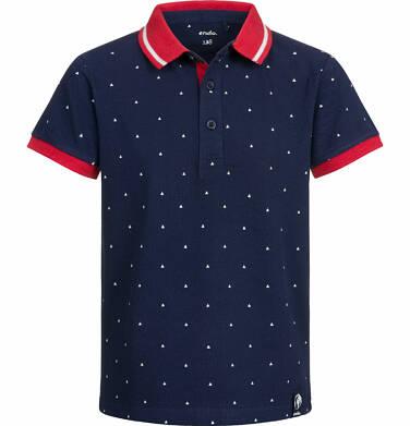 Endo - T-shirt polo z krótkim rękawem dla chłopca, w drobny wzór, ciemnogranatowy, 9-13 lat C03G523_1