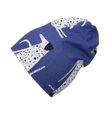 Czapka wiosenna dla dziecka do 2 lat, z psem w kropki, niebieska N03R014_1
