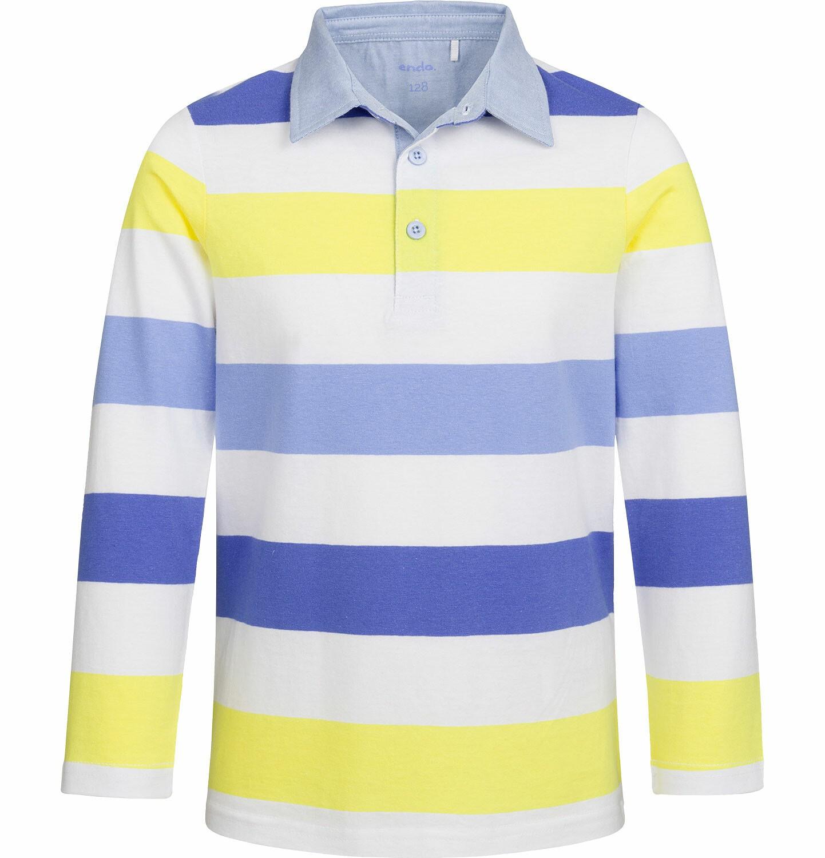 Endo - T-shirt polo z długim rękawem dla chłopca, w paski, 2-8 lat C03G040_1