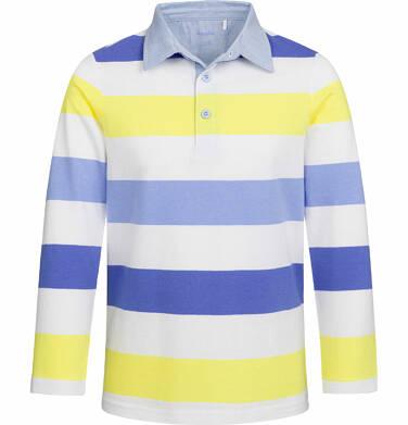 Koszulka polo z długim rękawem dla chłopca, w paski, 2-8 lat C03G040_1