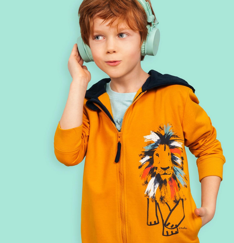 Endo - Rozpinana bluza z kapturem dla chłopca, z lwem, pomarańczowa, 2-8 lat C05C023_1