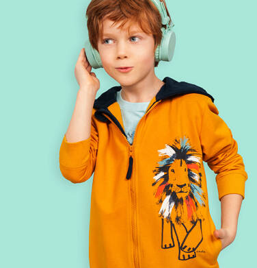Rozpinana bluza z kapturem dla chłopca, z lwem, pomarańczowa, 2-8 lat C05C023_1
