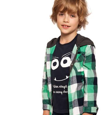 Koszula z długim rękawem i kapturem dla chłopca, w kratę, 3-8 lat C92F006_2