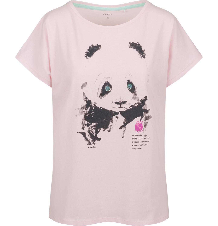 Endo - T-shirt damski z krótkim rękawem, z pandą, różowy Y03G006_1