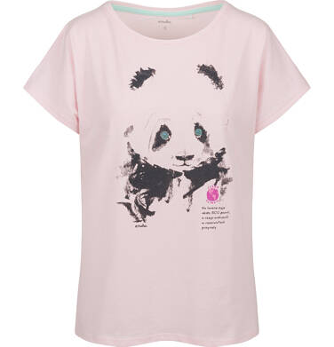 T-shit damski z krótkim rękawem, z pandą, różowy Y03G006_1