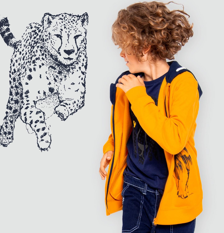 Endo - Rozpinana bluza z kapturem dla chłopca, z lwem, pomarańczowa, 9-13 lat C05C025_1
