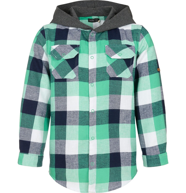Endo - Koszula z długim rękawem i kapturem dla chłopca, w kratę, 9-13 lat C92F506_2