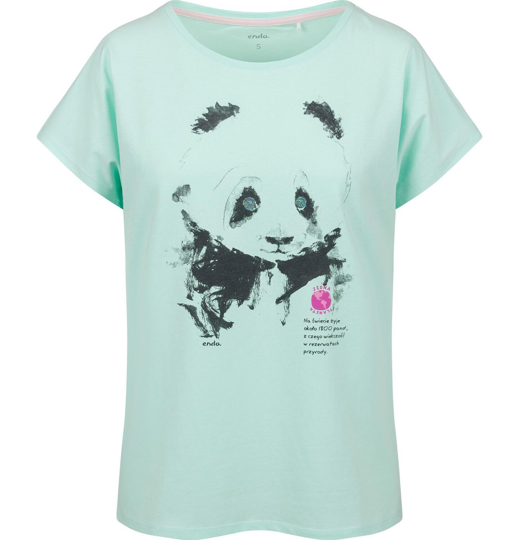 Endo - T-shirt damski z krótkim rękawem, z pandą, niebieski Y03G006_2