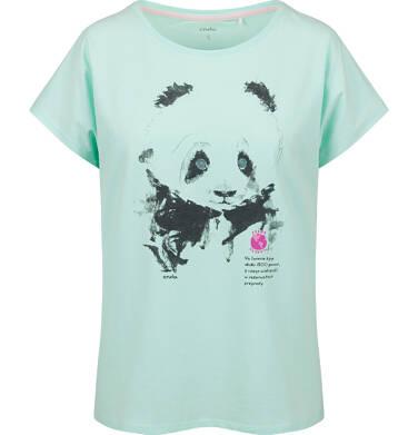 Endo - T-shirt damski z krótkim rękawem, z pandą, niebieski Y03G006_2,1