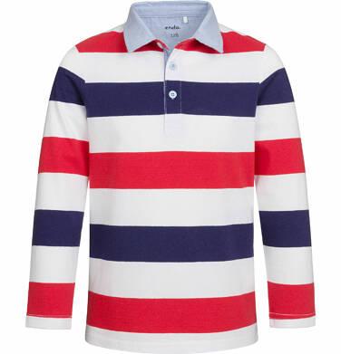 Endo - T-shirt polo z długim rękawem dla chłopca, w paski, 9-13 lat C03G540_2