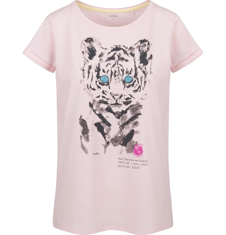 Endo - T-shirt damski z krótkim rękawem, z tygrysem, różowy Y03G007_1