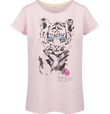 T-shirt damski z krótkim rękawem, z tygrysem, różowy Y03G007_1