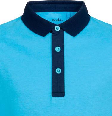 Endo - T-shirt polo z długim rękawem dla chłopca, fair play, niebieski, 2-8 lat C03G041_1,2