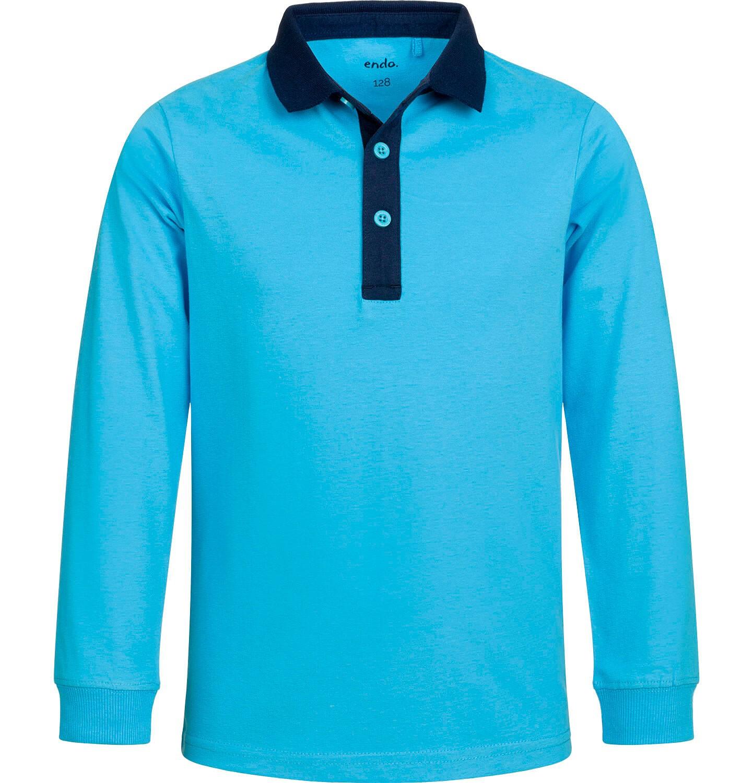 Endo - T-shirt polo z długim rękawem dla chłopca, fair play, niebieski, 9-13 lat C03G541_1