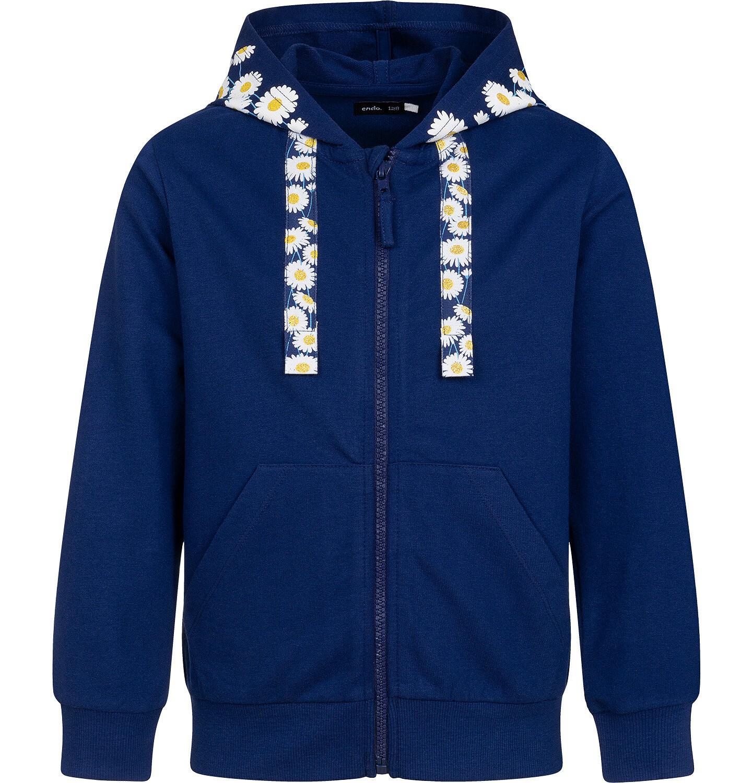 Endo - Rozpinana bluza z kapturem dla dziewczynki, kaptur w stokrotki, granatowa, 9-13 lat D05C017_1