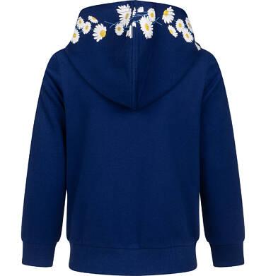 Endo - Rozpinana bluza z kapturem dla dziewczynki, kaptur w stokrotki, granatowa, 9-13 lat D05C017_1 1