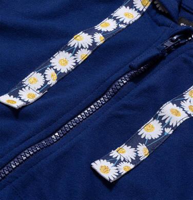Endo - Rozpinana bluza z kapturem dla dziewczynki, kaptur w stokrotki, granatowa, 9-13 lat D05C017_1,3