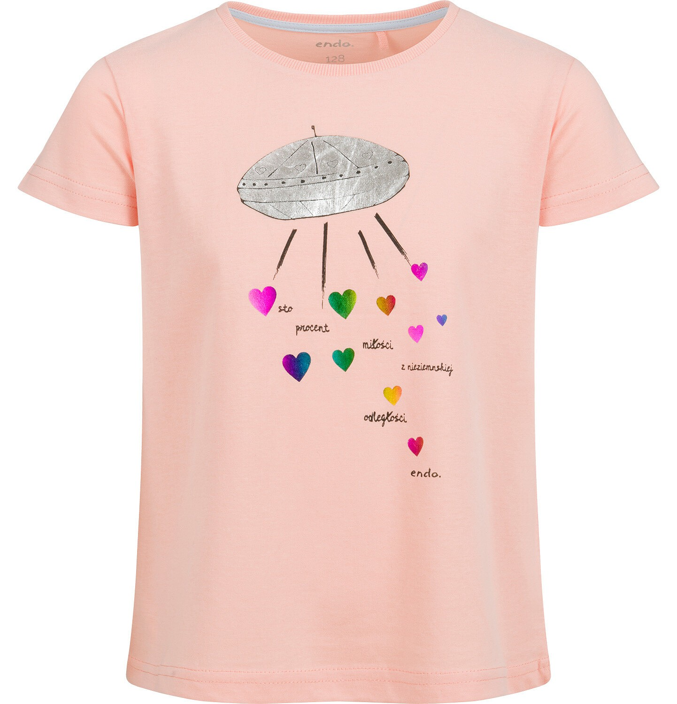 Endo - Bluzka z krótkim rękawem dla dziewczynki, ze statkiem kosmicznym, pomarańczowa, 9-13 lat D03G625_2