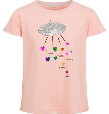 Endo - Bluzka z krótkim rękawem dla dziewczynki, ze statkiem kosmicznym, pomarańczowa, 9-13 lat D03G625_2 13