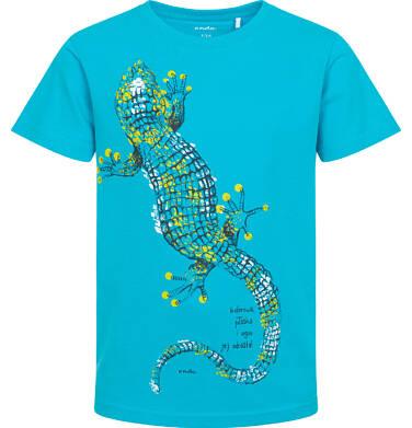 Endo - T-shirt z krótkim rękawem dla chłopca, z jaszczurką, niebieski, 9-13 lat C06G083_1 109