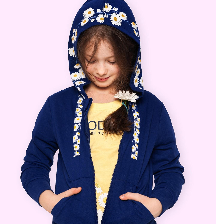 Endo - Rozpinana bluza z kapturem dla dziewczynki, kaptur w stokrotki, granatowa, 2-8 lat D05C029_1