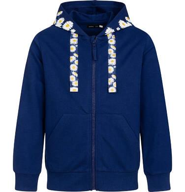 Endo - Rozpinana bluza z kapturem dla dziewczynki, kaptur w stokrotki, granatowa, 2-8 lat D05C029_1 1