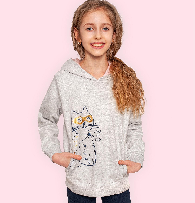 Endo - Bluza z kapturem dla dziewczynki, z kotem bohaterem, jasnoszary melanż, 2-8 lat D05C030_1