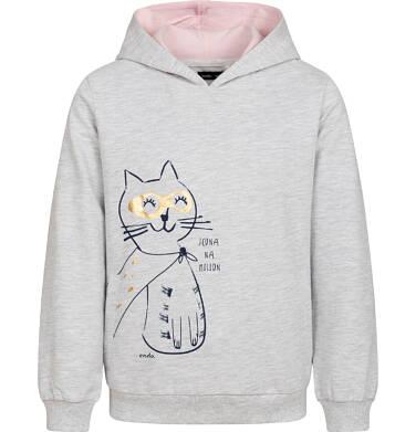 Endo - Bluza z kapturem dla dziewczynki, z kotem bohaterem, jasnoszary melanż, 2-8 lat D05C030_1 7