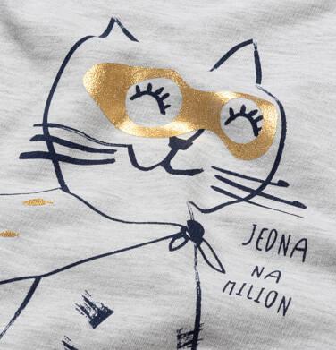 Endo - Bluza z kapturem dla dziewczynki, z kotem bohaterem, jasnoszary melanż, 2-8 lat D05C030_1 25