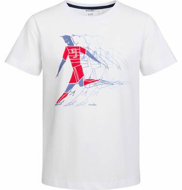 Endo - T-shirt z krótkim rękawem dla chłopca, z piłkarzem, biały, 2-8 lat C03G059_1,1