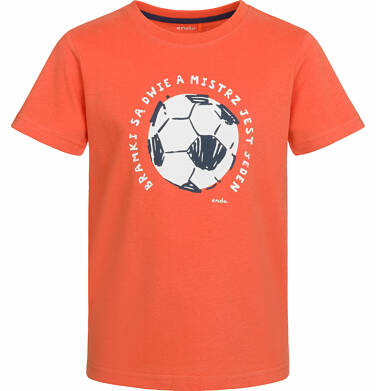Endo - T-shirt z krótkim rękawem dla chłopca, z piłką, pomarańczowy, 9-13 lat C03G560_1