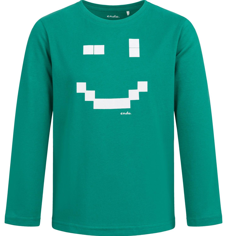 Endo - T-shirt z długim rękawem dla chłopca, z uśmiechem, zielony, 2-8 lat C04G059_1