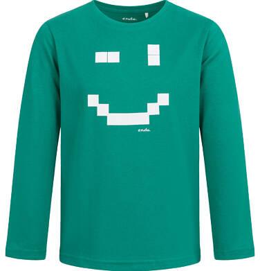 T-shirt z długim rękawem dla chłopca, z uśmiechem, zielony, 2-8 lat C04G059_1