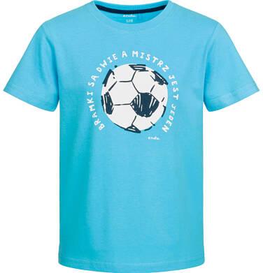 Endo - T-shirt z krótkim rękawem dla chłopca, z piłką, niebieski, 9-13 lat C03G560_2
