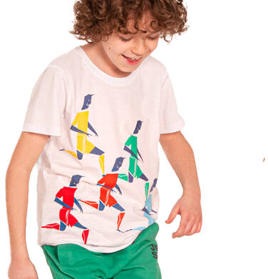 Endo - T-shirt z krótkim rękawem dla chłopca, sportowa drużyna, biały, 2-8 lat C03G061_1,2
