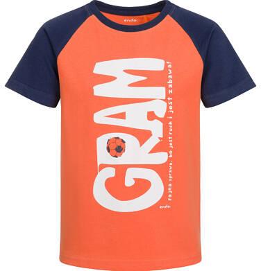 Endo - T-shirt z krótkim rękawem dla chłopca, gram, pomarańczowy, 9-13 lat C03G573_2