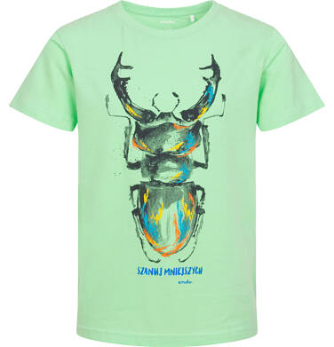 Endo - T-shirt z krótkim rękawem dla chłopca, z chrząszczem, zielony, 9-13 lat C06G085_2 108