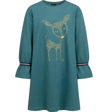 Sukienka z długim rekawem, luźny krój, zielona, 9-13 lat D04H007_1