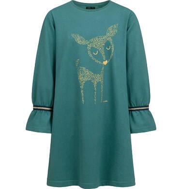 Sukienka z długim rekawem, luźny krój, zielona, 2-8 lat D04H028_1