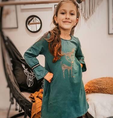 Endo - Sukienka z długim rekawem, luźny krój, zielona, 2-8 lat D04H028_1,2